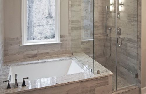 Master bathroom bathtub and shower