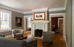 Shotgun style home included painting the fireplace white