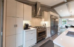 Kitchen remodel grey washed hardwoods