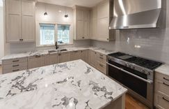 Kitchen remodel cracked gray subway tile